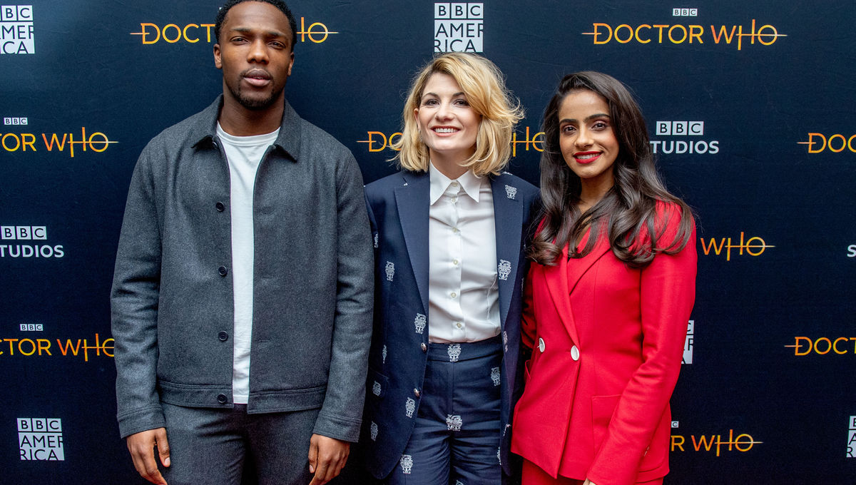 Jodie Whittaker, Mandip Gill, Tosin Cole (Doctor Who)
