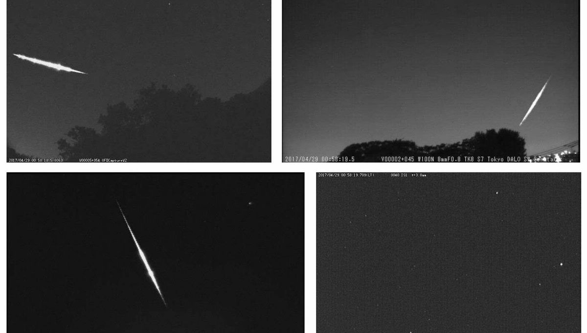 Images from different cameras of the SonotaCo Network show the bright fireball of 28 April 2017 over Japan. The meteoroid likely came from the asteroid 2003 YT1.