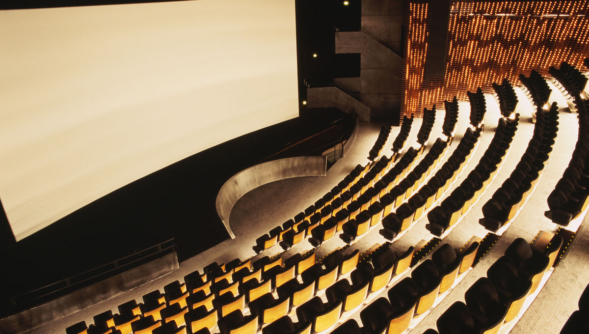 An empty movie theater awaits guests