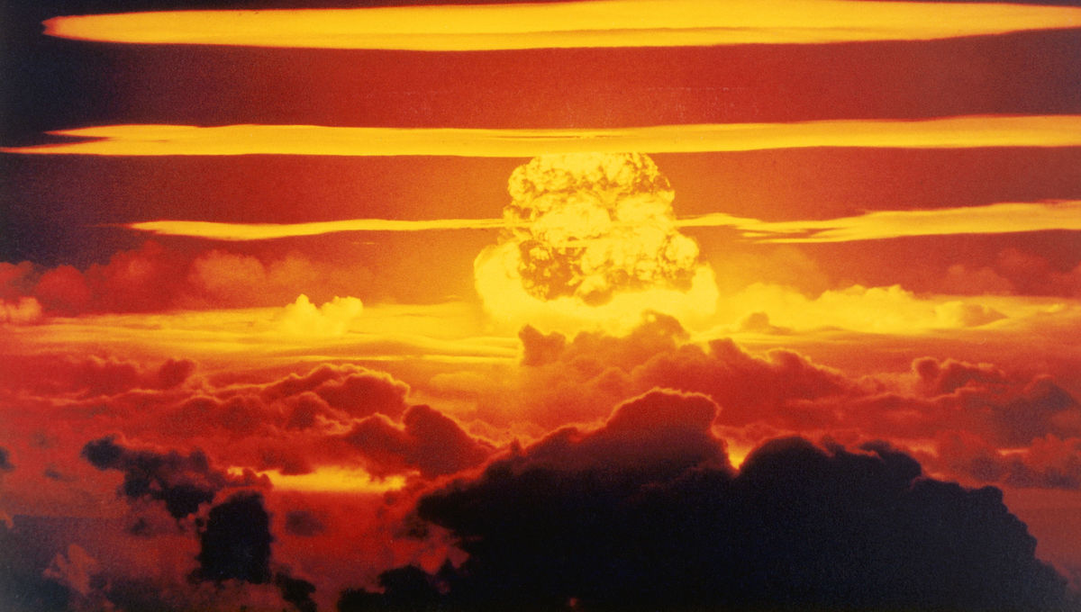 Mushroom cloud following detonation of a nuclear weapon
