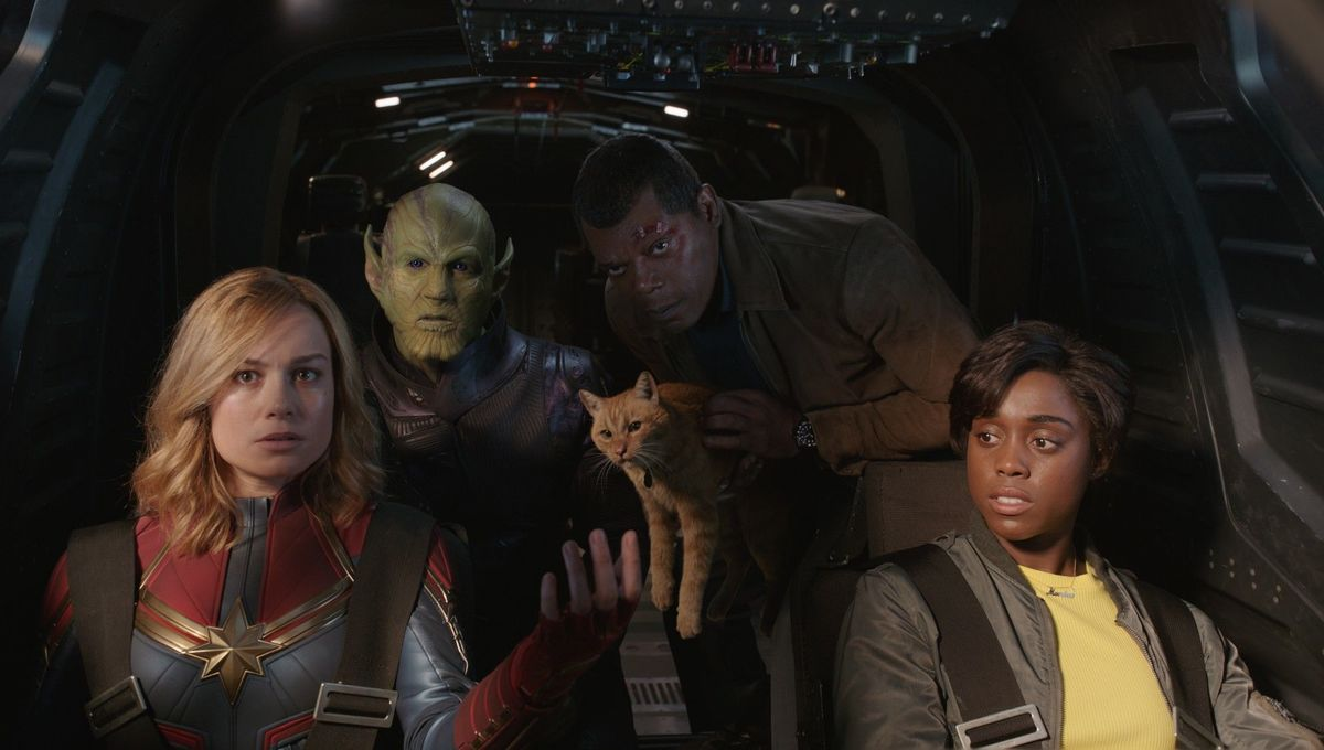 Captain Marvel in the Cockpit with Goose