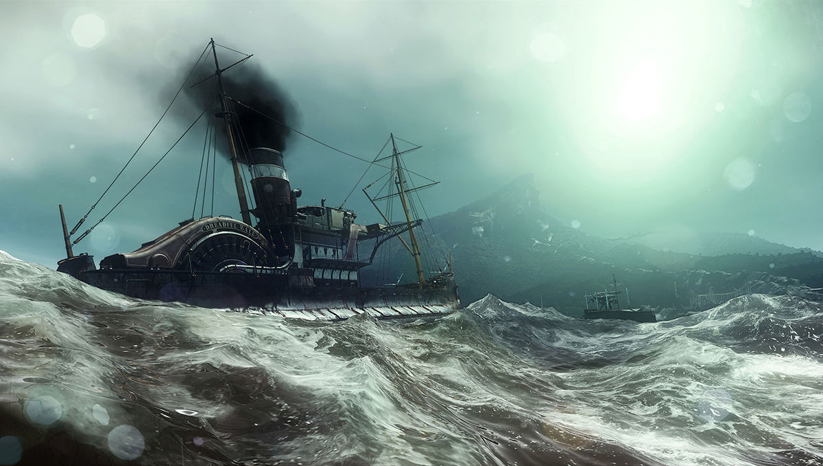 A storm at sea in Dishonored 2 video game
