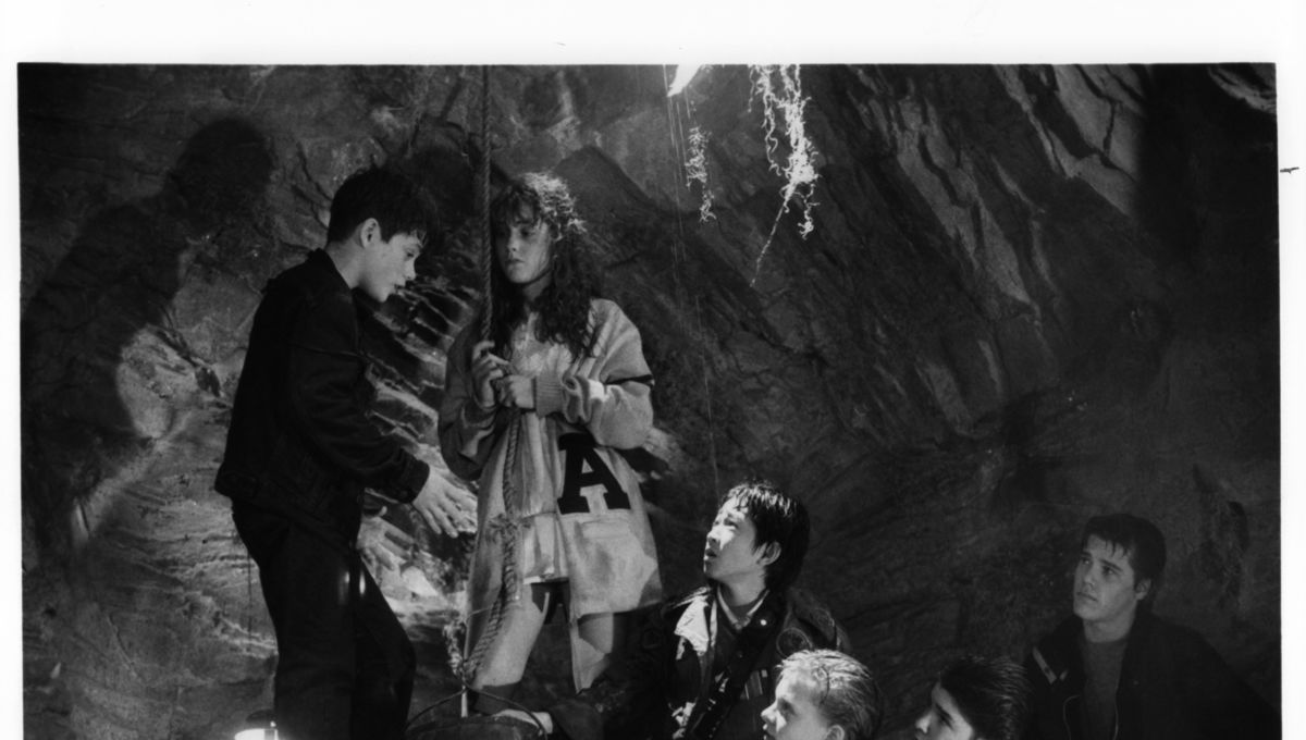 Black and white still image from The Goonies