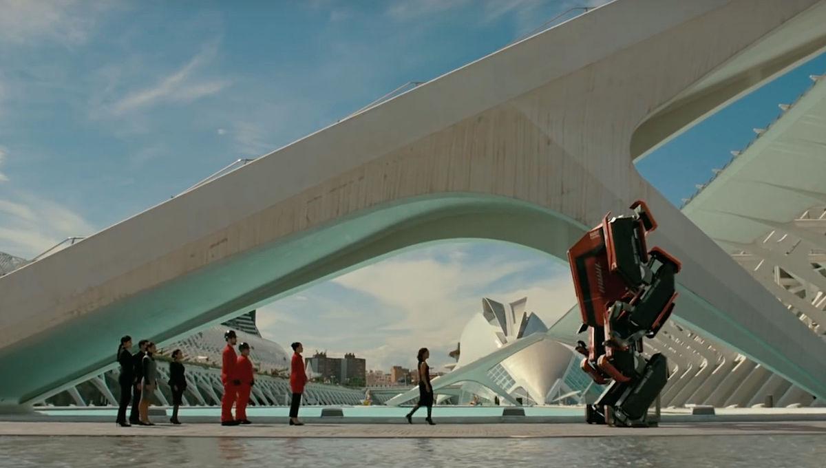 A futuristic outdoor scene from Westworld Season 3