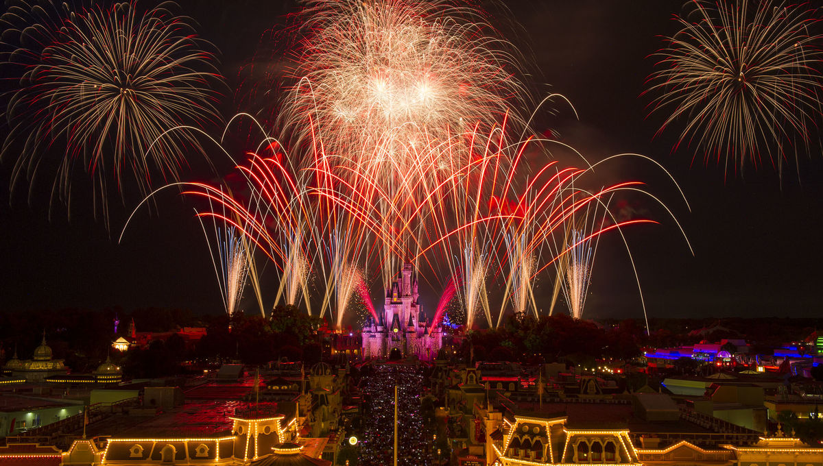 Fireworks over Cinderella Castle at Walt Disney World