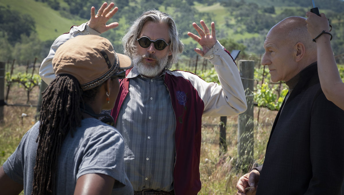 Michael Chabon on location with director Hanelle Culpepper and Patrick Stewart