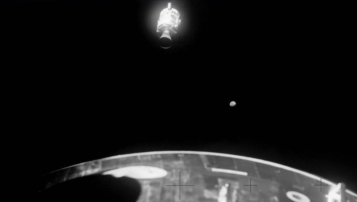 view of the detached Apollo 13 service module as viewed from the command module