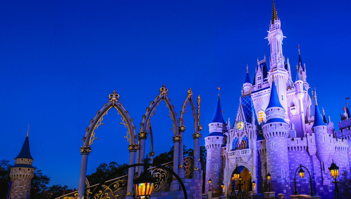 Magic Kingdom's Cinderella Castle at dusk
