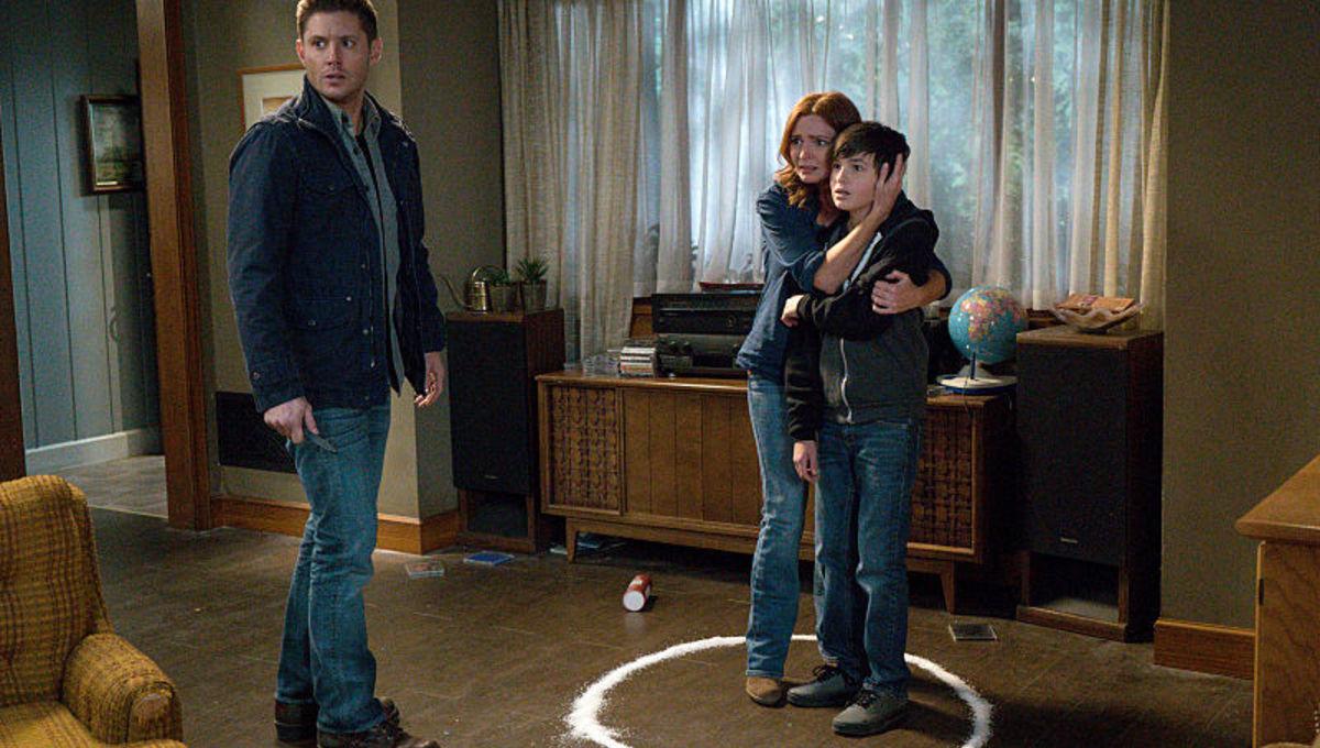 Jensen Ackles, Brigid Brannagh, and Logan Williams in Supernatural