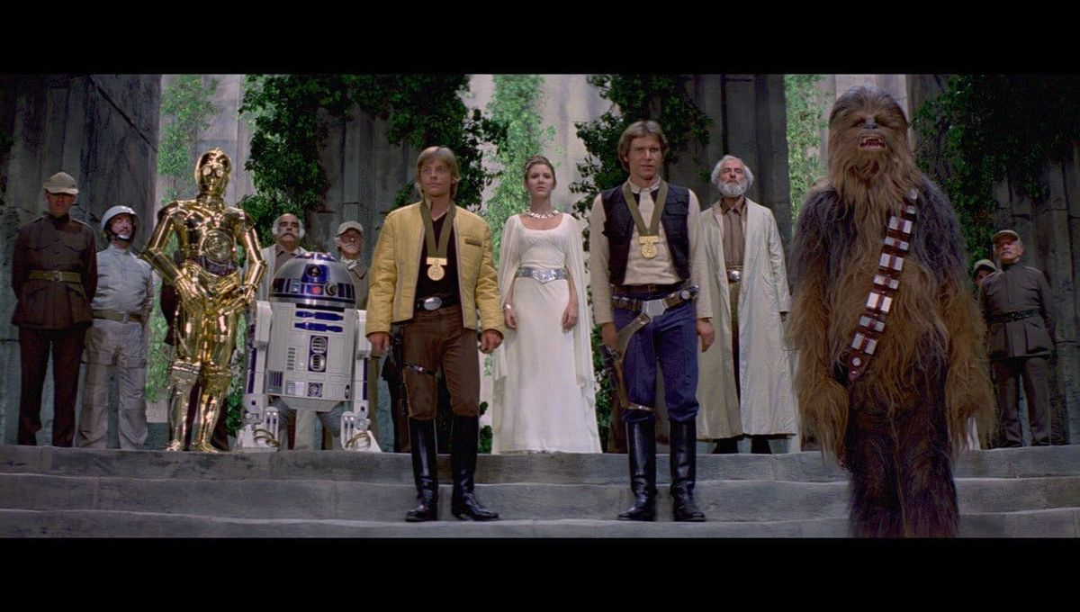 The medal awards scene from the original Star Wars