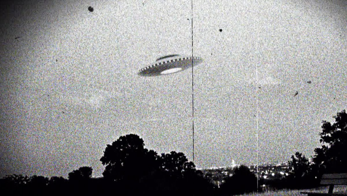 A black and white stylized photo of a UFO