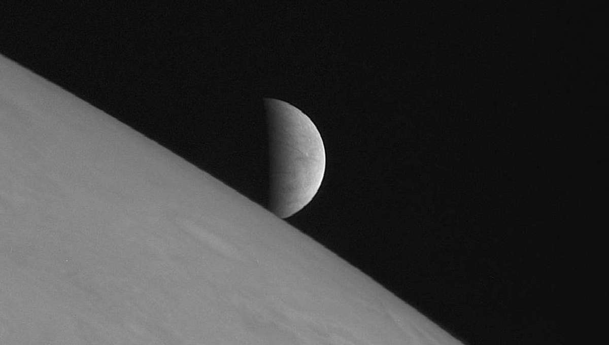 NASA image of the view of Europa from Jupiter