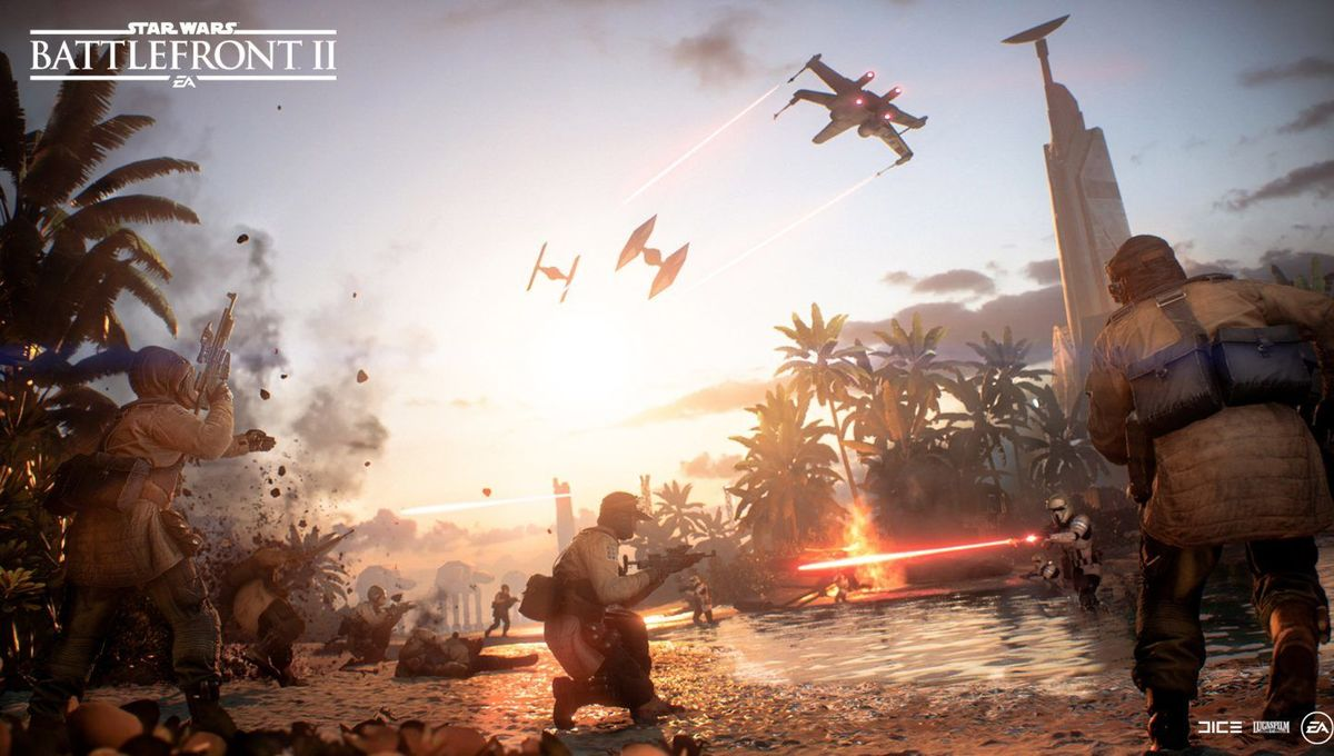 Scarif beach scene in Star Wars Battlefront II