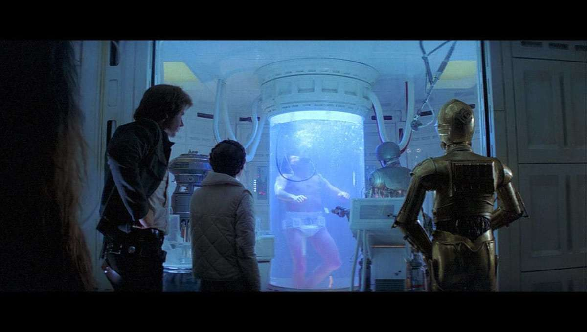 Luke Skywalker recovers in the Bacta tank in The Empire Strikes Back