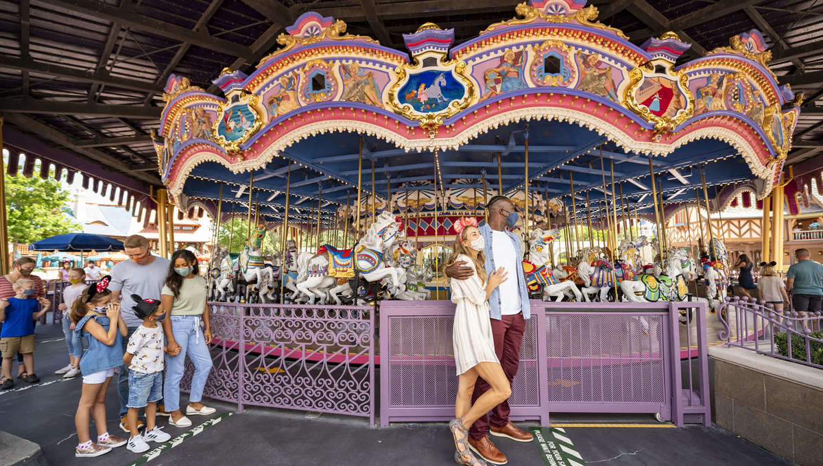 socially-distanced ride lines at Disney's Magic Kingdom