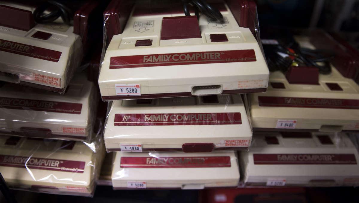 A stack of Nintendo Famicom consoles