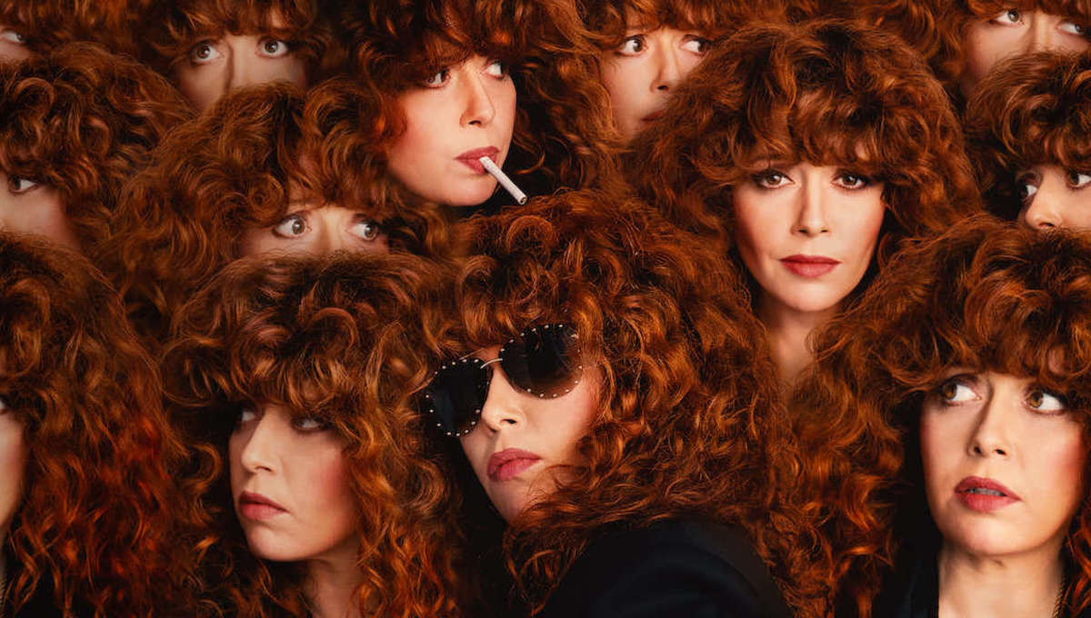 Images of Natasha Lyonne are layered on top of each other in a mosaic