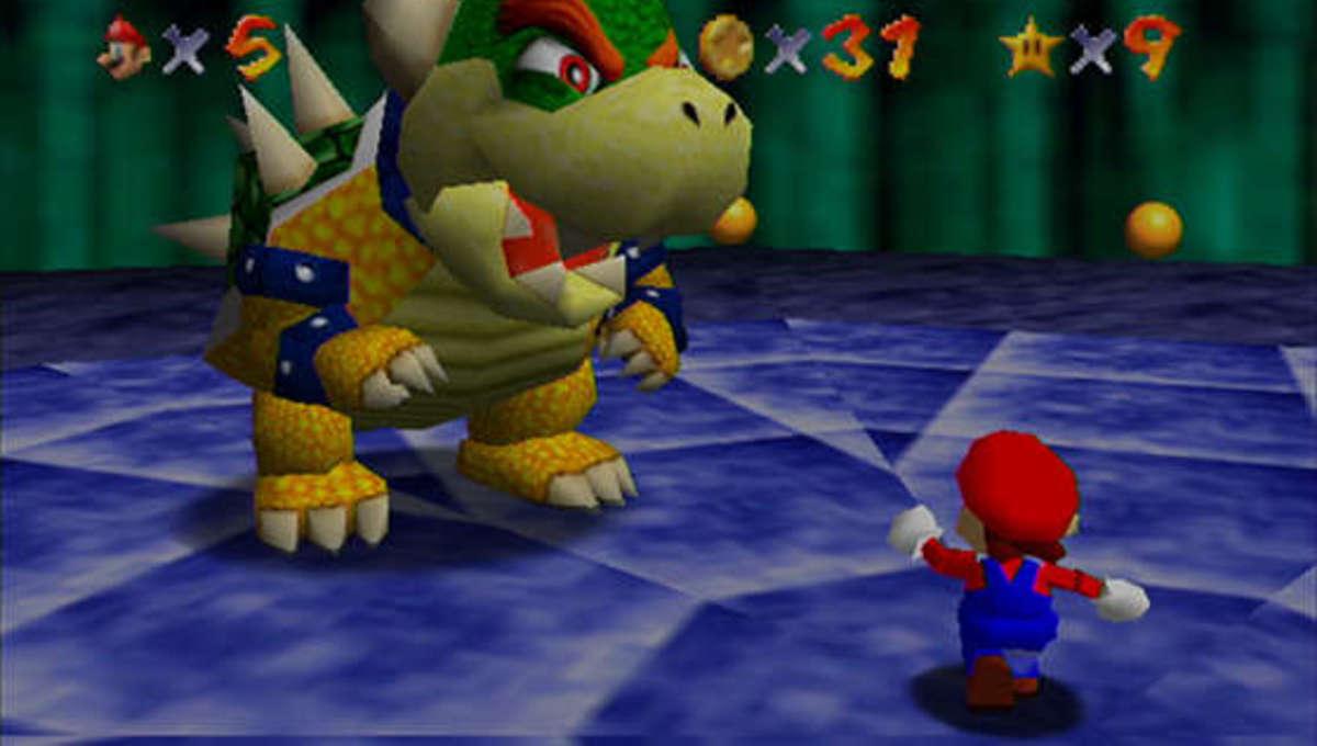 Mario and Bowser in Super Mario 64