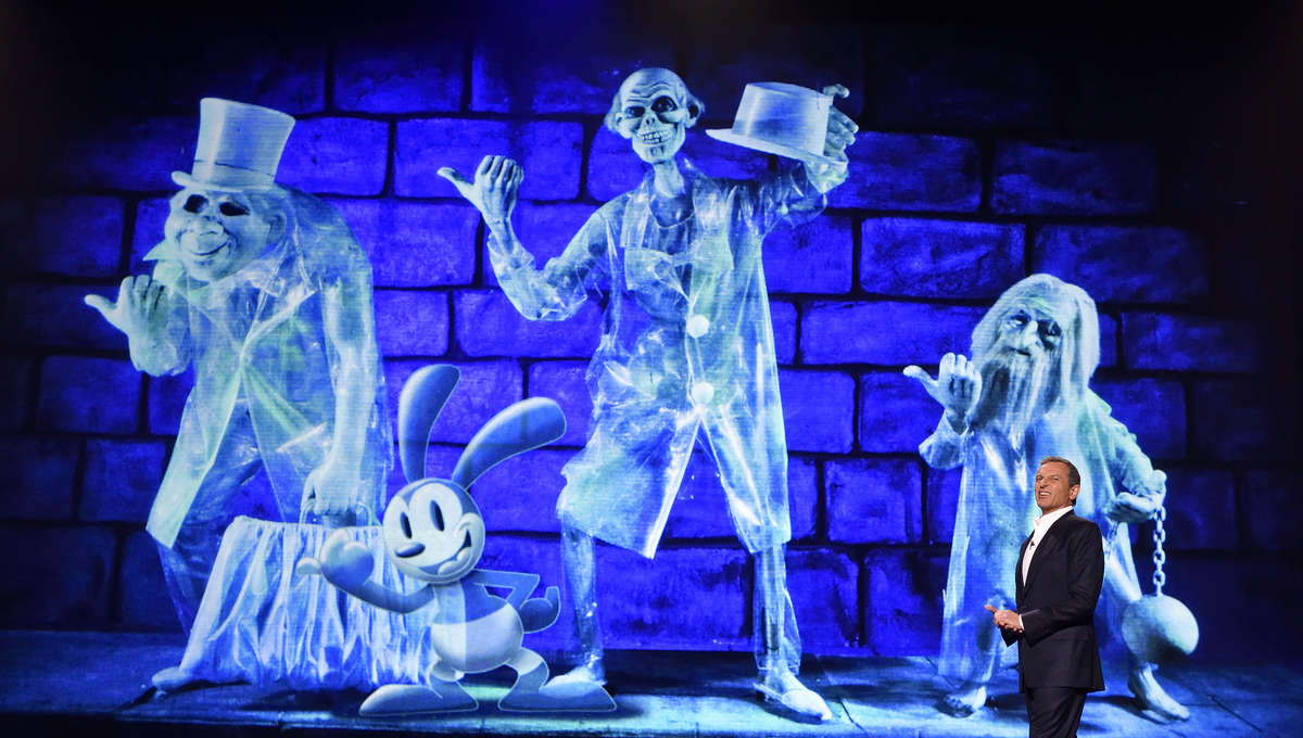Scene from The Haunted Mansion featuring Disney CEO Bob Iger