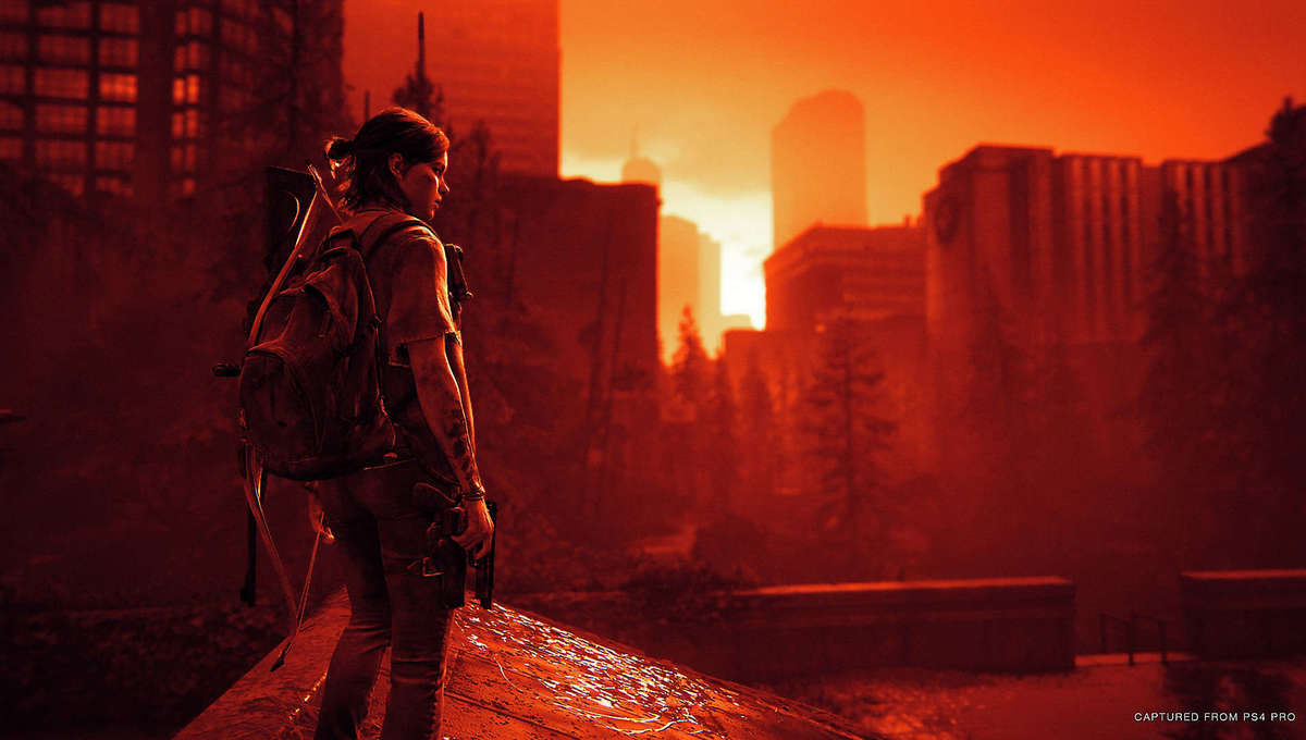Ellie surveying Seattle in The Last of Us Part II