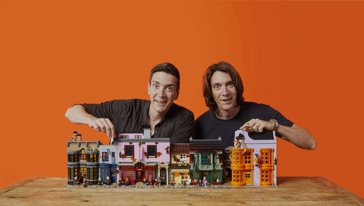 James and Oliver Phelps Harry Potter Lego Diagon Alley
