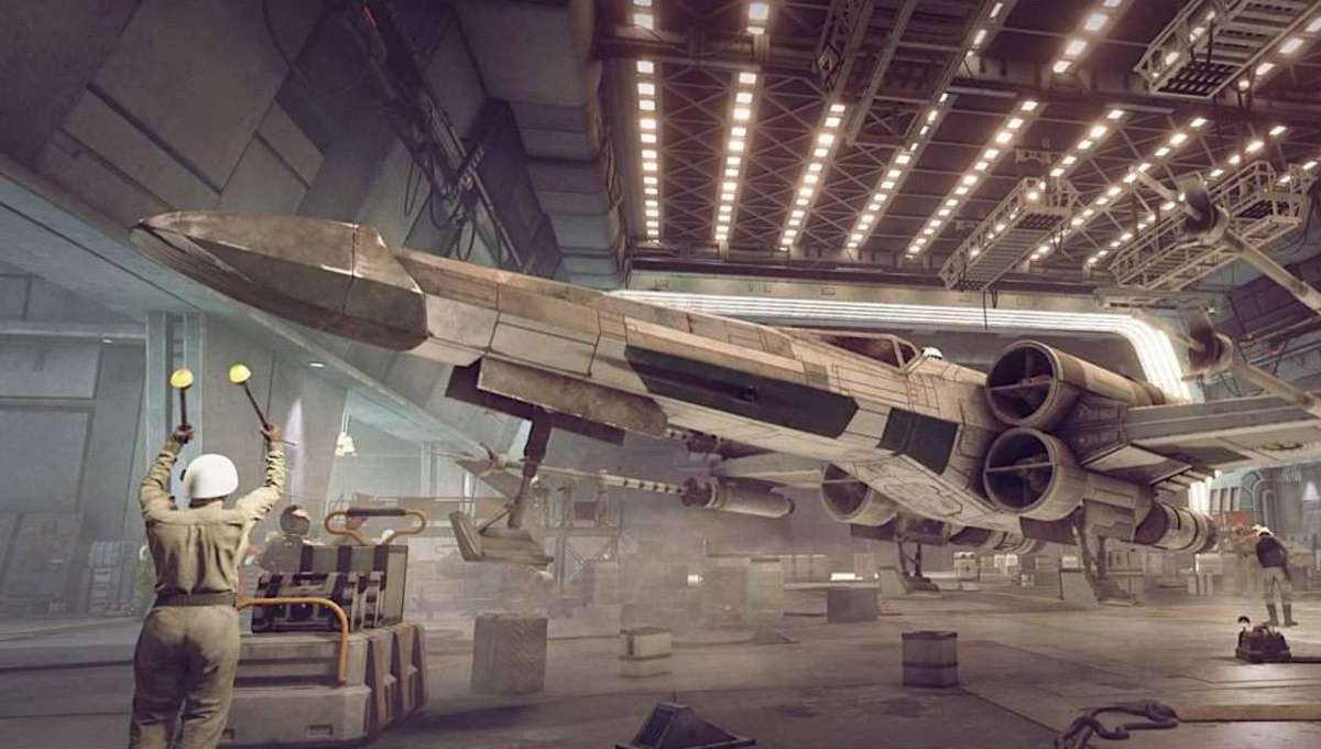 An X Wing in the hangar in Star Wars Squadrons video game