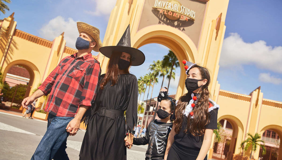Family in costumes at Universal