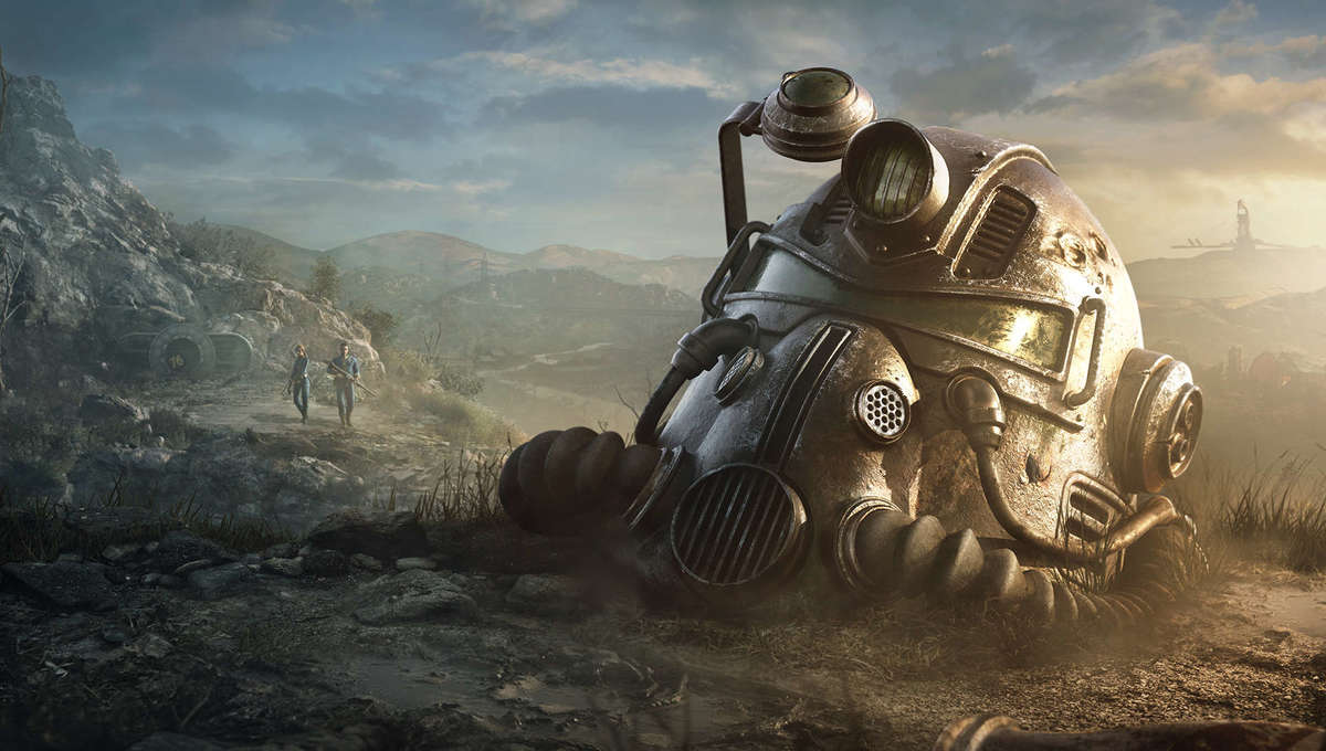 A Power Helmet sits in a devastated nuclear landscape in Fallout 76