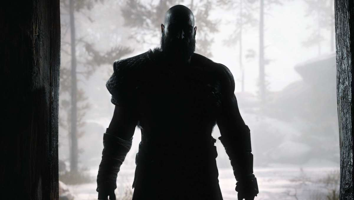Kratos in silhouette in God of War