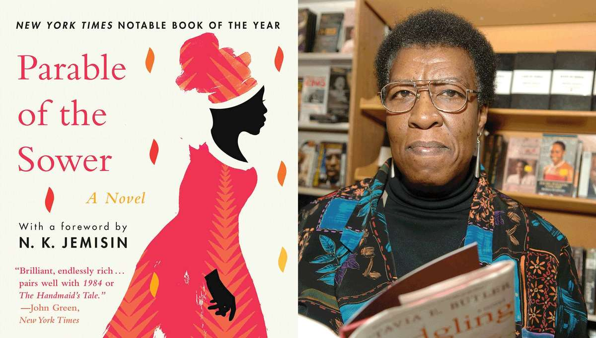 Octavia E. Butler author photo and The Parable of the Sower Cover