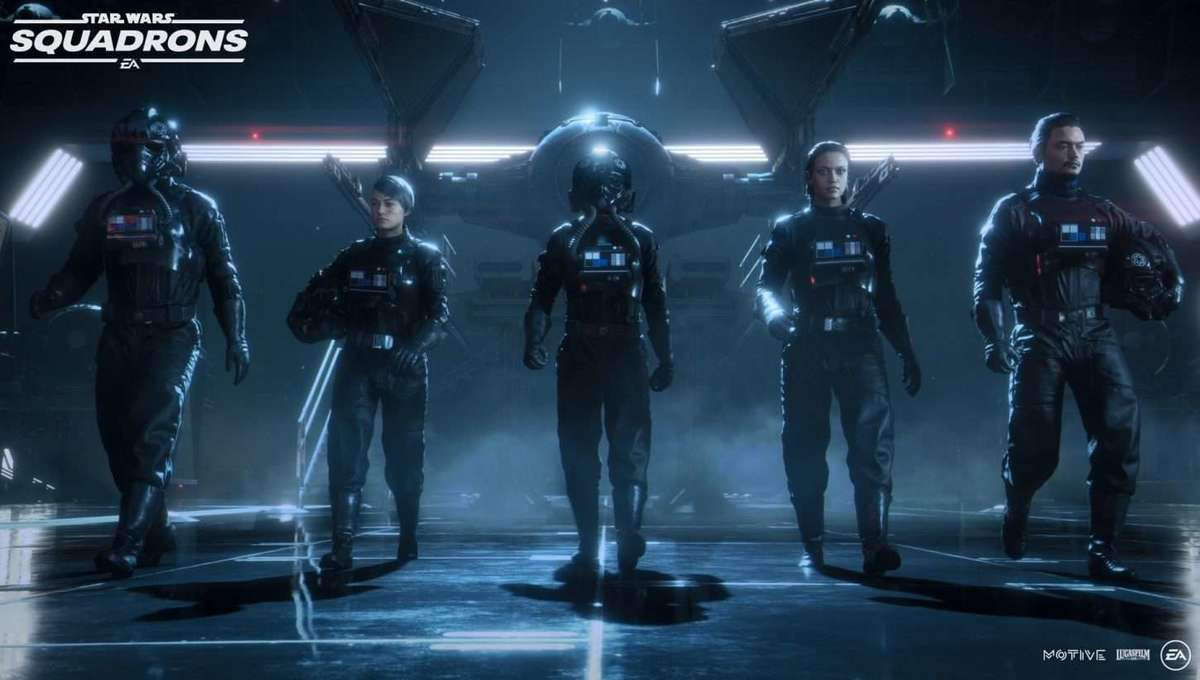 The imperial pilot lineup in Star Wars Squadrons video game