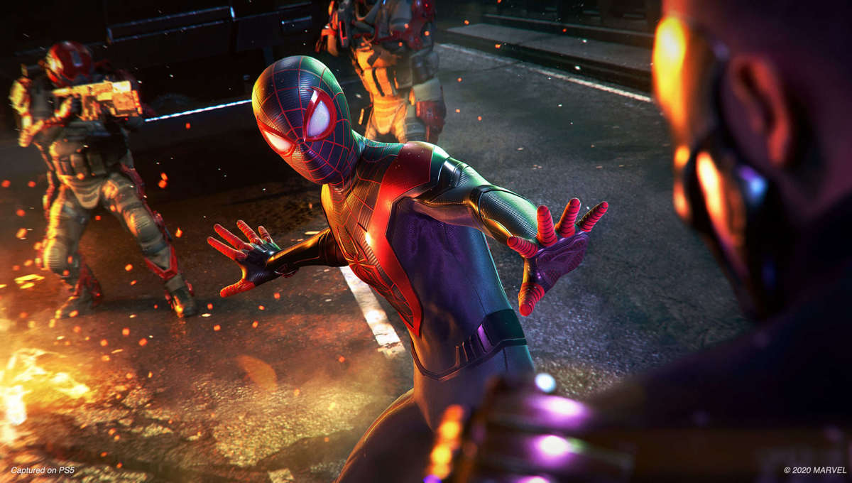 Spider Man Miles Morales in action on the PlayStation 5