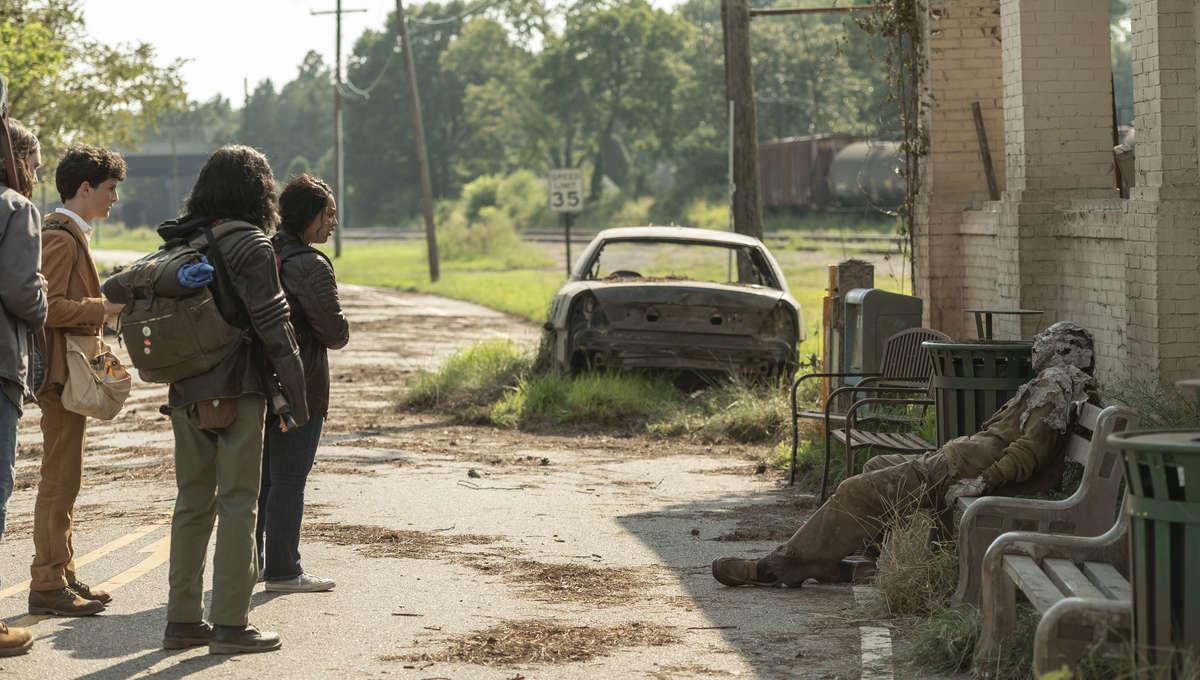 The Walking Dead World Beyond episode 102 - the kids encounter a zombie