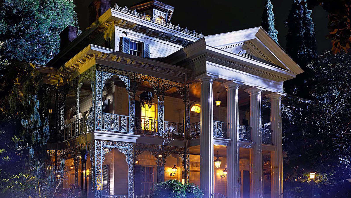 A foggy evening in front of Disneyland's Haunted Mansion