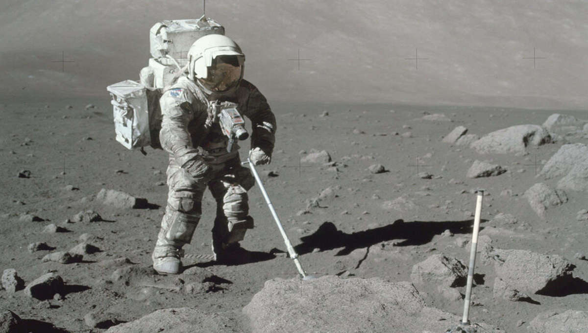 Moon dust on an astronaut's space suit