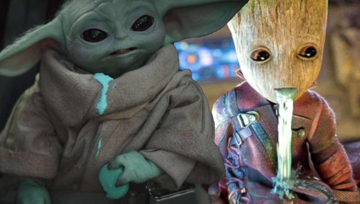 Baby Yoda throwing up with Baby Groot