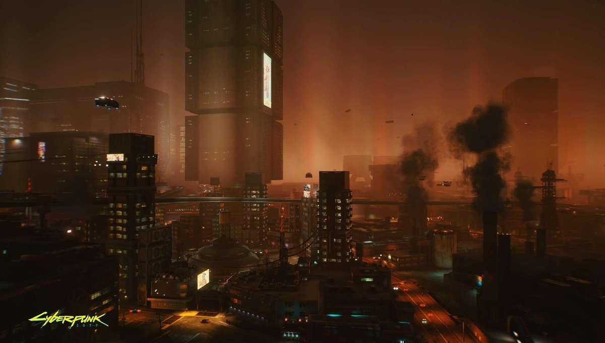 Night City vista in Cyberpunk 2077