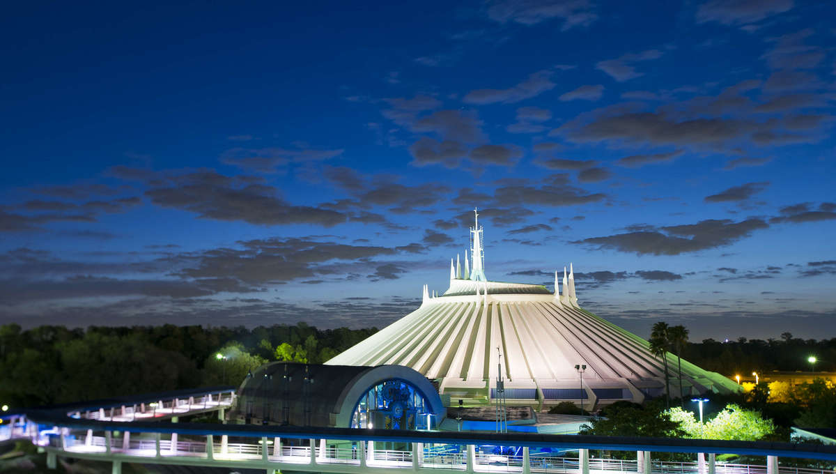 Exterior of Space Mountain roller coaster in Magic Kingdom's Tomorrowland