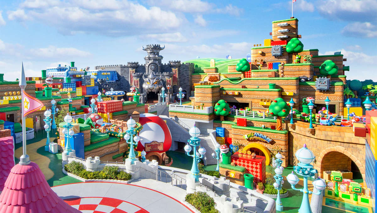 Cartoon-like Super Nintendo World theme park land