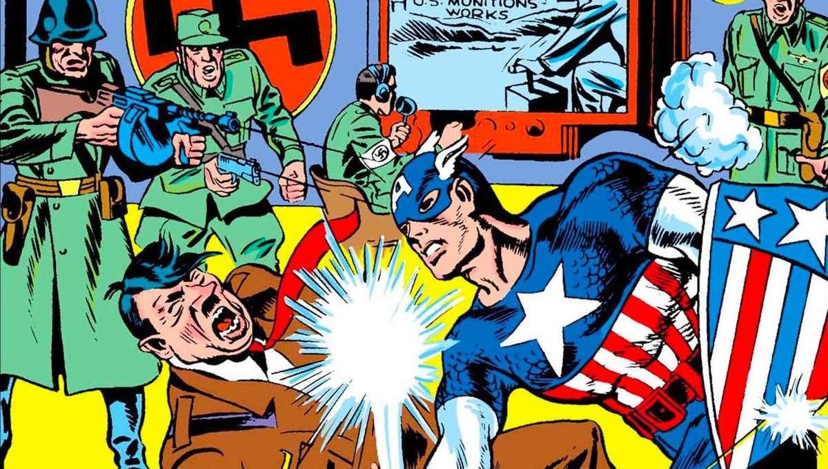 Captain America punching Hitler