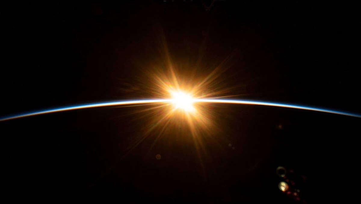 NASA image of first light on Earth