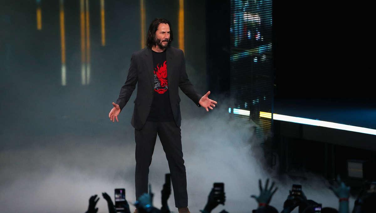 Keanu Reeves at the Microsoft showcase at E3 2019