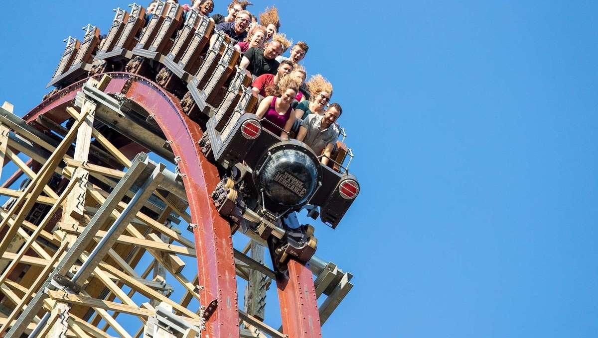 Cedar Point's Steel Vengeance coaster approaching a hill descent