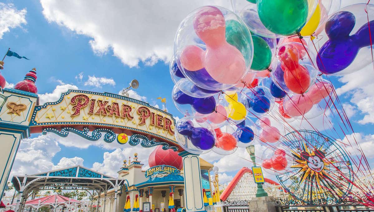 Balloons beside Pixar Pier at Disney California Adventure