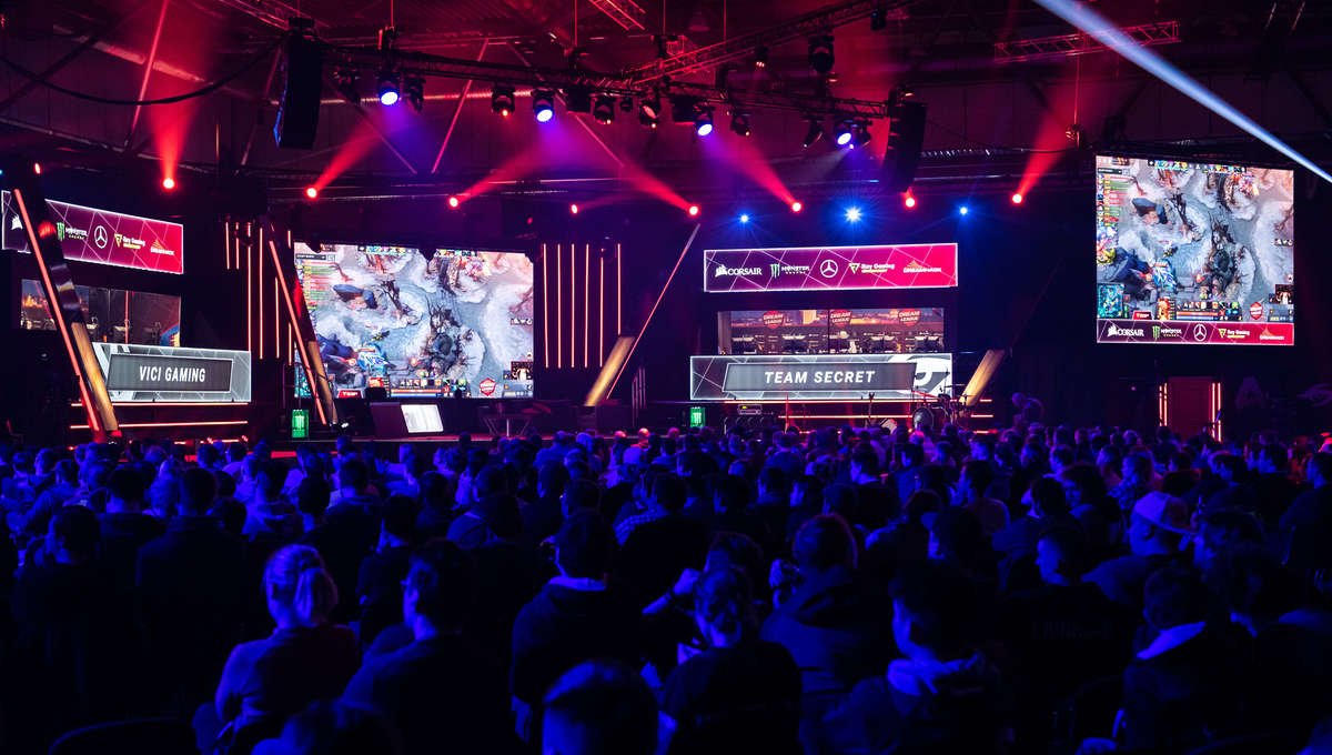 Fans at a Dota 2 video game esports tournament