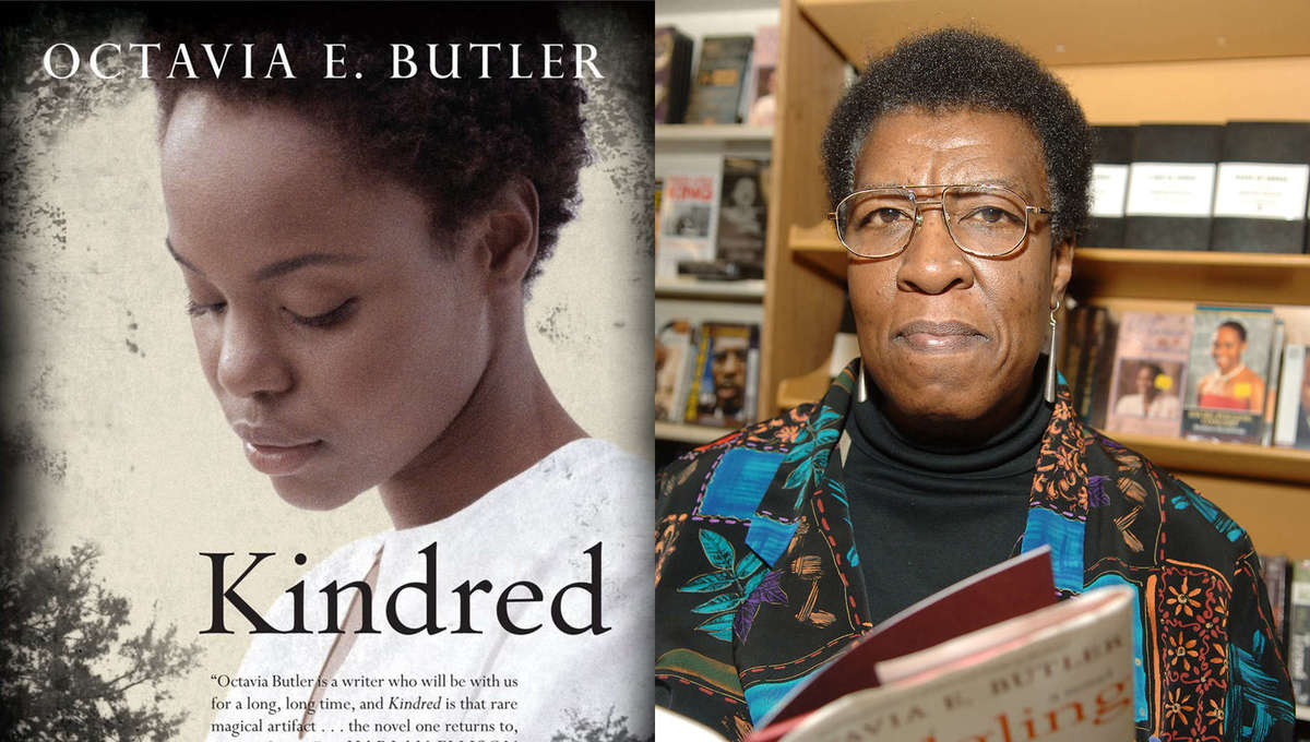 Octavia E. Butler author photo and Kindred book cover