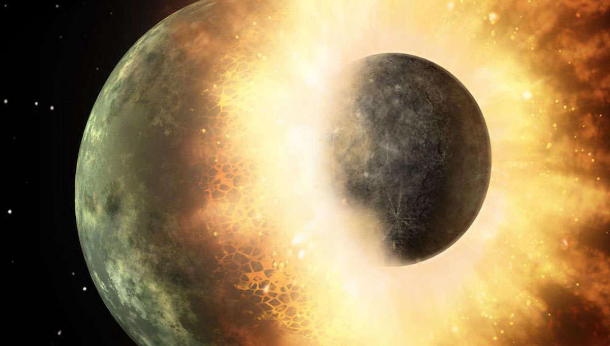 NASA image of a planetary collision