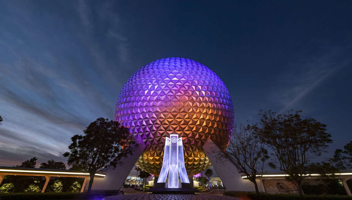 Epcot and its reimagined fountain at nighttime