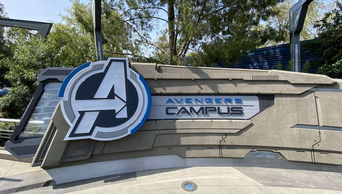 Avengers Campus welcome sign