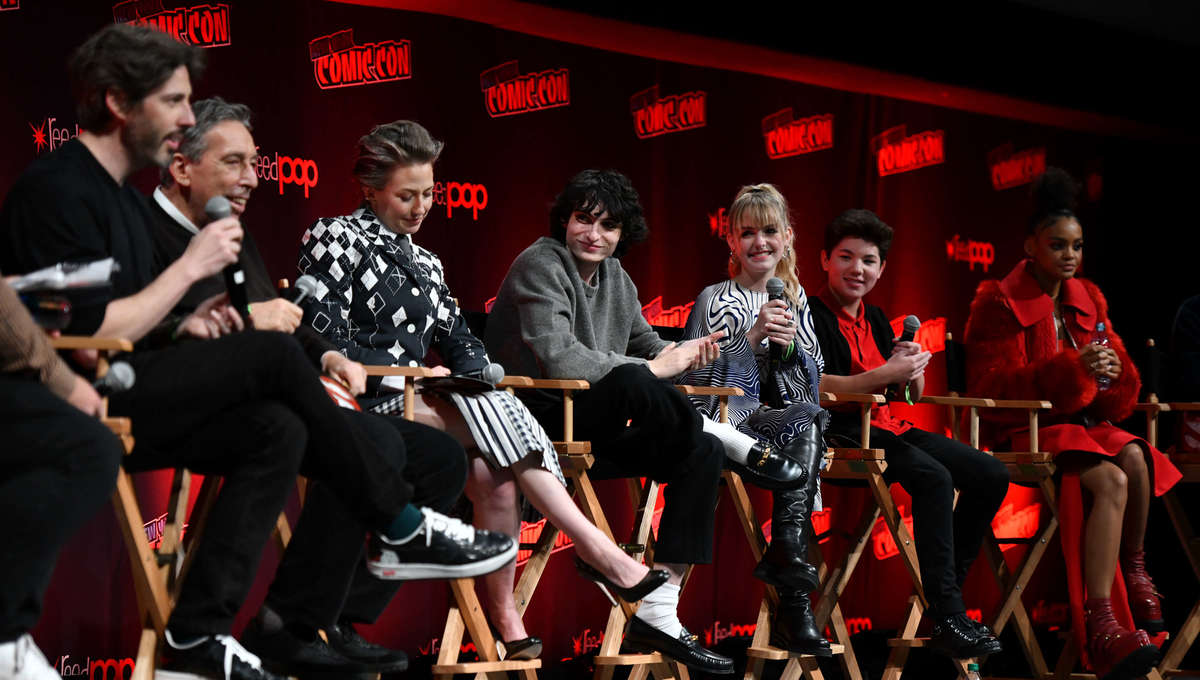 Jason Reitman, Ivan Reitman, Carrie Coon and Finn Wolfhard during the Ghostbusters_ Afterlife Cast & Filmmakers Panel (Photo by Craig Barritt_Getty Images for ReedPop )